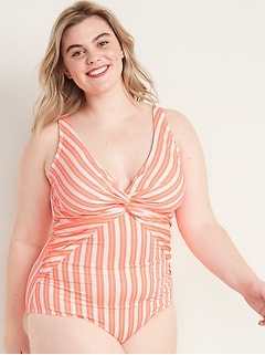 Striped Secret-Slim Twist-Front Plus-Size One-Piece Swimsuit