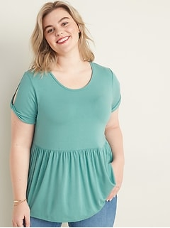 Twist-Sleeve Plus-Size Peplum-Hem Top