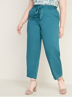 High-Waisted Plus-Size Tie-Belt Soft Pants