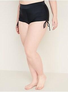 High-Waisted Secret-Slim Plus-Size Side-Tie Swim Shorts -- 1.5-inch inseam