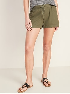 Mid-Rise Linen-Blend Shorts for Women - 4-inch inseam