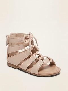 Sandales spartiates en similicuir pour toute-petite fille