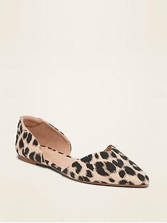 Textile Pointy-Toe D'Orsay Flats for Women
