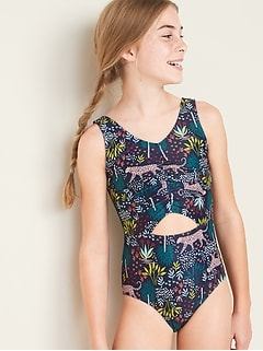 Keyhole-Cutout Swimsuit for Girls