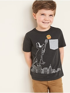 Novelty-Graphic Chest-Pocket Tee for Toddler Boys