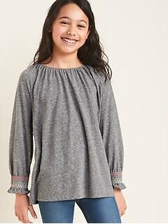 Smocked Raglan-Sleeve Top for Girls