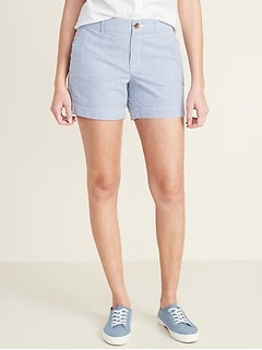 Mid-Rise Everyday Seersucker Shorts for Women - 5-inch inseam