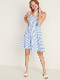 Striped Fit & Flare Cami Mini Dress for Women