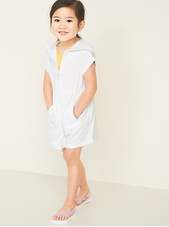 Hooded Loop-Terry Swim Cover-Up for Toddler Girls