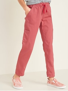 Pantalon chino cargo à enfiler pour fille