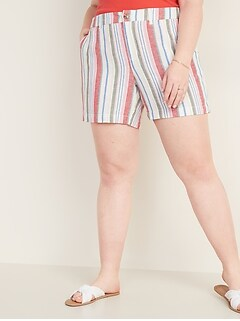Mid-Rise Plus-Size Printed Everyday Shorts - 7-inch inseam