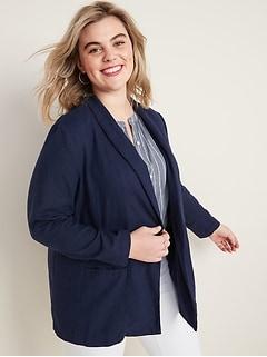 Linen-Blend Plus-Size Blazer