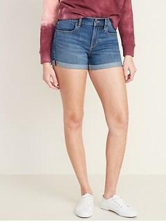 Cuffed Jean Shorts for Women - 3-inch inseam