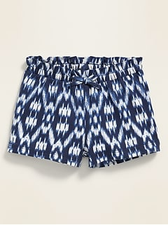 Jersey-Knit Paperbag-Waist Shorts for Baby