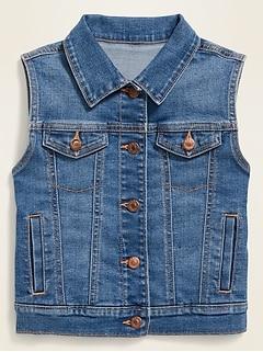 Gilet ajusté en jean avec boutons à l'avant pour fille