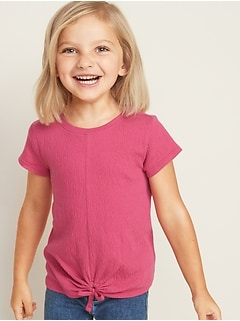 Relaxed Tie-Hem Textured Top for Toddler Girls