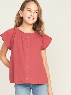 Ruffled Rib-Knit Faux-Button Front Top for Girls