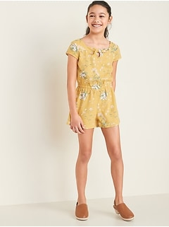 Printed Linen-Blend Romper for Girls