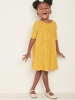 Printed Elbow-Sleeve Swing Dress for Toddler Girls