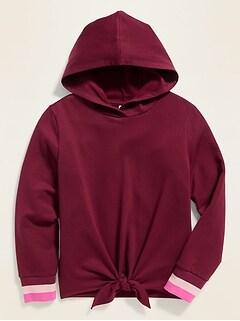 Cozy Tie-Hem Pullover Hoodie for Girls