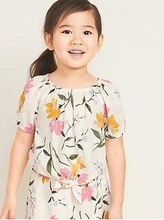 Printed Tie-Hem Blouse for Toddler Girls