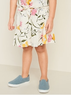 Printed Tiered-Hem A-Line Skirt for Toddler Girls