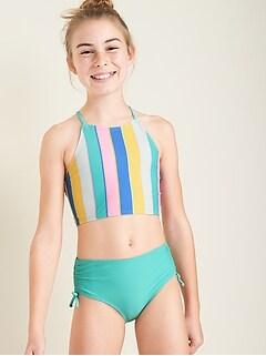 High-Neck Strappy-Back Bikini for Girls