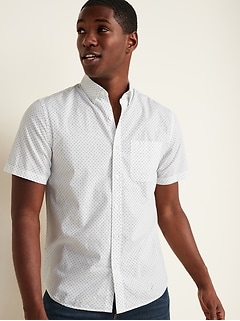 Built-In Flex Printed Everyday Short-Sleeve Shirt for Men