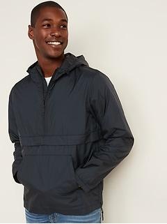 Veste pliable hydrorésistante à capuchon avec demi-glissière pour homme