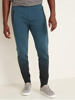 Dynamic Fleece Zip-Pocket Dip-Dye Jogger Pants for Men