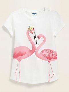 T-shirt à encolure ras du cou à imprimé pour toute-petite fille