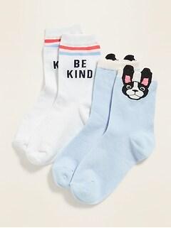 Printed Crew Socks 2-Pack for Girls