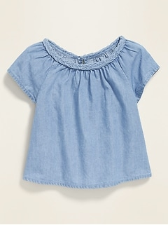 Chambray Braided-Neck Blouse for Baby