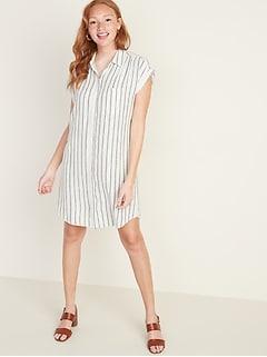 Linen-Blend Striped Shirt Dress for Women