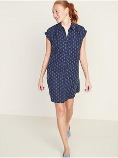 Linen-Blend Shirred Shirt Dress for Women