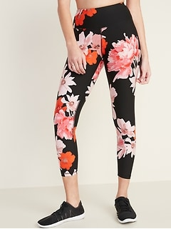 High-Waisted Elevate 7/8-Length Floral Compression Leggings for Women