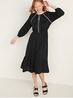 Waist-Defined Embroidered Trim Midi Dress for Women
