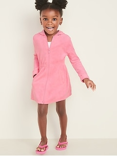 Hooded Loop-Terry Zip-Front Swim Cover-Up Dress for Toddler Girls