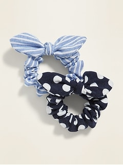 Bow-Tie Scrunchies 2-Pack for Girls