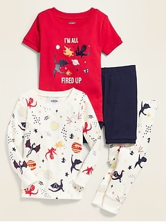 Dragon-Graphic 4-Piece Pajama Set for Toddler Boys & Baby