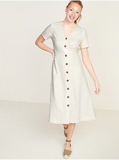 Fit & Flare Button-Front Linen-Blend Midi Dress for Women