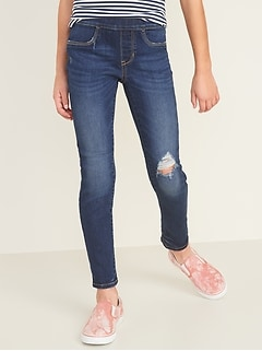 Skinny Built-In Tough Distressed Pull-On Jeans for Girls