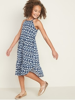 Sleeveless Tulip-Hem Midi Dress for Girls