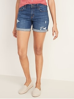 Mid-Rise Slim Midi Distressed Jean Shorts for Women - 5-inch inseam