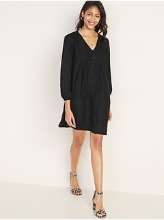 Pintucked Button-Front Swing Dress for Women