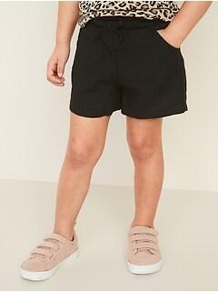 Linen-Blend Paperbag-Waist Pull-On Shorts for Toddler Girls