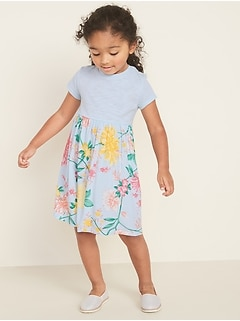 Fit & Flare Mixed-Fabric Dress for Toddler Girls