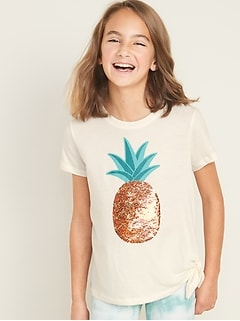 Visual-Effects Graphic Side-Tie Tee for Girls