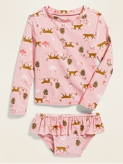 Safari-Print Rashguard & Bikini Bottoms Swim Set for Toddler Girls