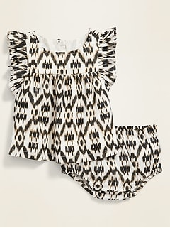 Printed Ruffle-Trim Top & Bloomers Set for Baby